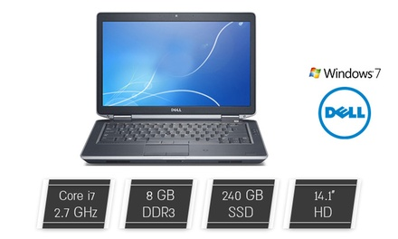 """מחשב נייד DELL עם מסך """"14, מעבד CORe i7, זכרון 8GB, דיסק 240GB SSD ומע' הפעלה win7pro, כולל חבילת אבזור מורחבת מתנה!"""