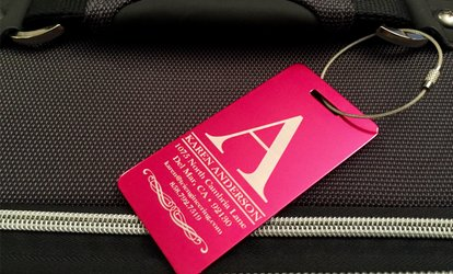 image for One or Two Personalized Aluminum Luggage Tags from American Laser Crafts (Up to 75% Off)