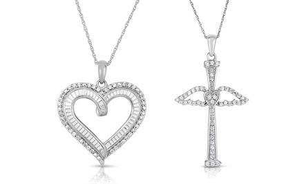 1/4 CTTW Diamond Heart or Cross Pendants