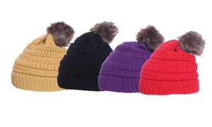 Knitted Pompom Winter Beanie