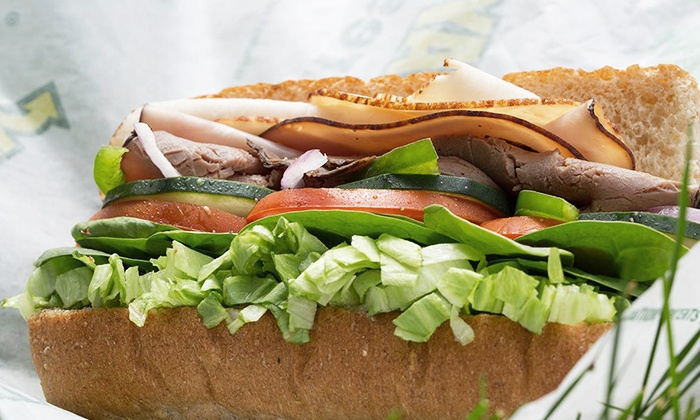 Subway - Multiple Locations: $25 for Five Groupons, Each Good for One Footlong Sandwich at Subway (Up to $40 Total Value)
