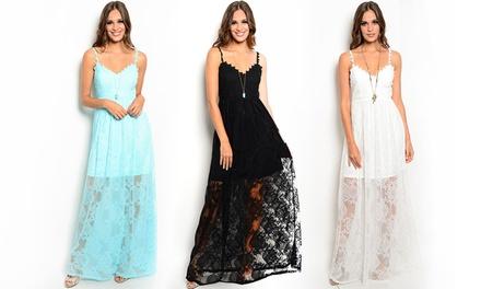 Women's Lace Overlay Maxi Dress