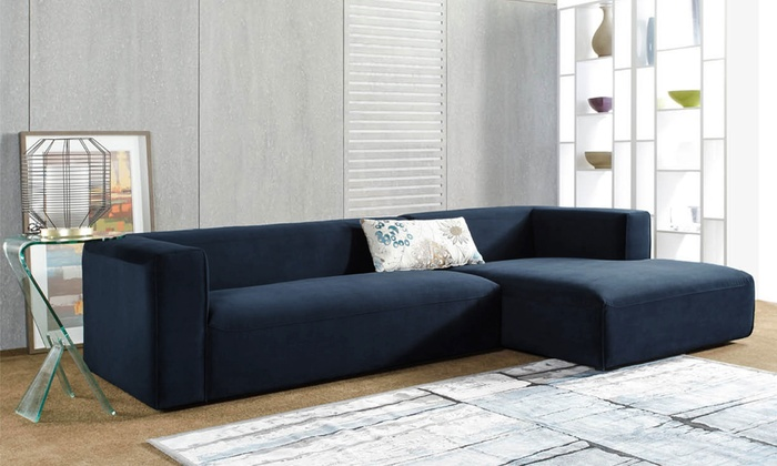 Hamlet navy blue velvet sectional with chaise groupon for Blue sofa with chaise