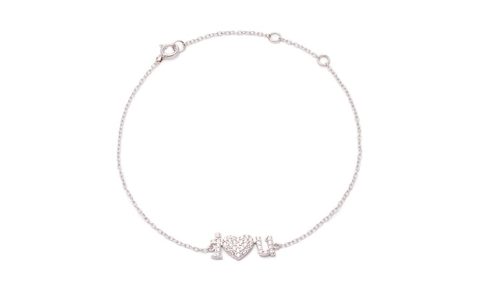 "Luce Mia: $29.99 for a Personalized Sterling Silver ""I Heart You"" Bracelet with Two Custom Initials from Luce Mia ($60 Value)"