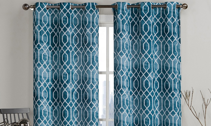 Pair Of Geometric Pattern Curtains 84 Quot Or 96 Quot Long Groupon