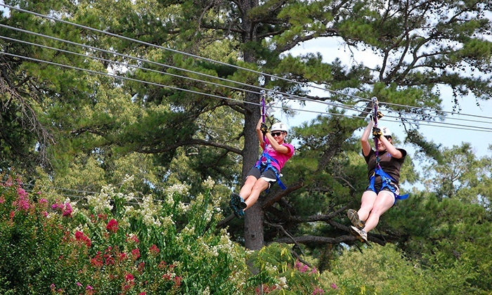 Zip Nac - Nacogdoches: Zipline Adventure with Souvenir T-Shirts for Two, Four, or Six at Zip Nac (Up to 42% Off)