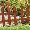 Set of 6 Rustic Metal Picket-Fence Garden Edgings with Birds