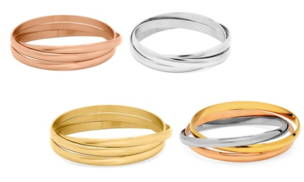 Intertwined Stainless Steel Bangle Bracelets