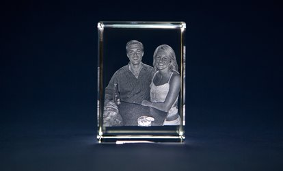 image for Custom 3D Crystal Tower w/Personalized Image from 3D Laser Gifts (Up to 71% Off). Large, Medium, Small Crystals