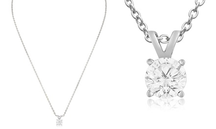 3/4 CTW Diamond Solitaire Pendant in 14K White Gold
