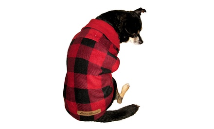 Eddie Bauer Buffalo Fleece Checkered Dog Coat