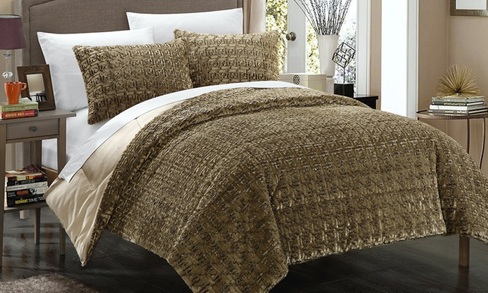 Chic Home Faux Fur Comforter Set Groupon Goods