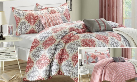 10-Piece Reversible Comforter Set with Coverlet and Sheets Included