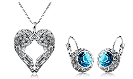 Angel Wings Heart Necklace for AED 39, Crystal Drop Earrings for AED 39 or Crystal Earrings for AED 49