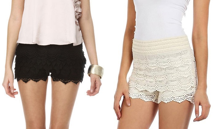 Layered Crochet Lace Shorts Groupon Goods
