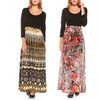 Women's Plus-Size Long-Sleeved Printed Maxi Dress