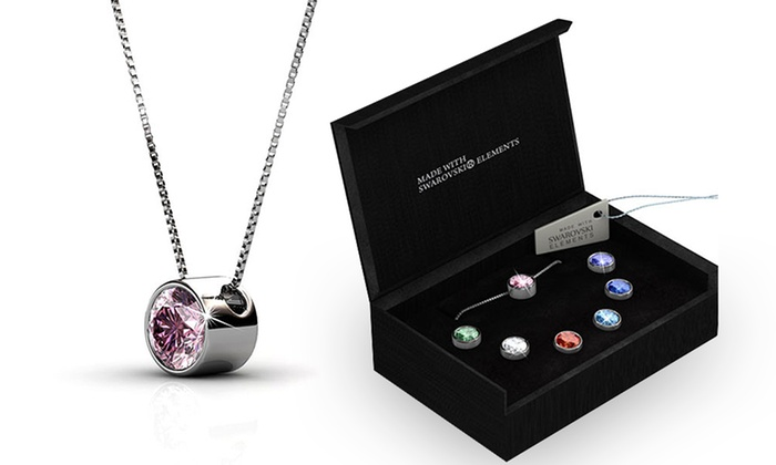 7 day pendant necklace groupon goods her jewellery 24 for a seven day interchangeable pendant necklace made with swarovski elements aloadofball Images
