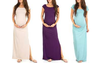 Blue Maternity Maxi Dresses for Baby Shower with Fishes On It