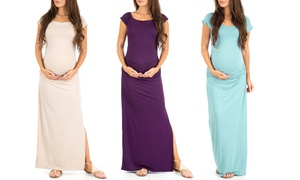 Women's Ruched Maxi Maternity Dress with Side Slits