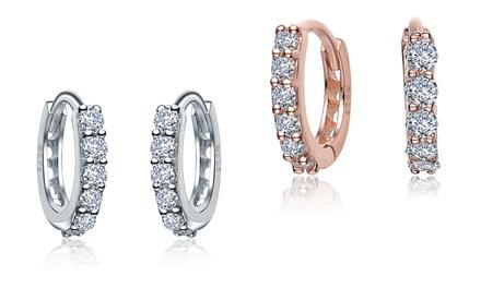 Sterling Silver and Lab Created Diamond Mini Hoop Earrings