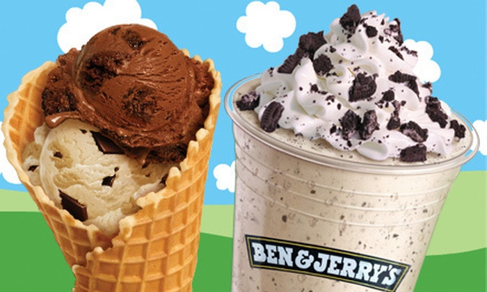 Ben and Jerry's - Multiple Locations: 5 or 10 Small Cups or Cones of Ice Cream at Ben & Jerry's (Up to 55% Off)