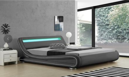 Lit LED avec matelas en option, taille et coloris au choix