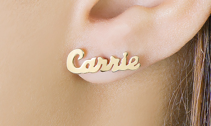 MonogramHub: Script Name Earrings from Monogramhub.com (Up to 86% Off)