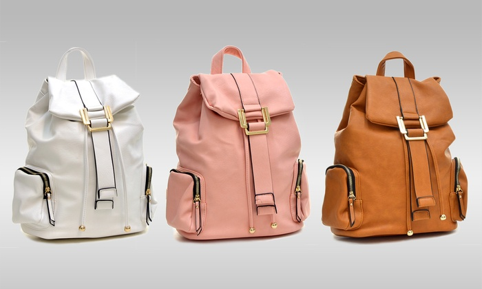 Faux-Leather Drawstring Backpack | Groupon Goods
