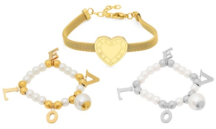 Beaded Pearl Love Stretch Bracelet or Roman Numeral Heart Bracelet