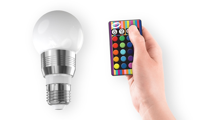 crayola color changing led light bulb with remote control groupon. Black Bedroom Furniture Sets. Home Design Ideas