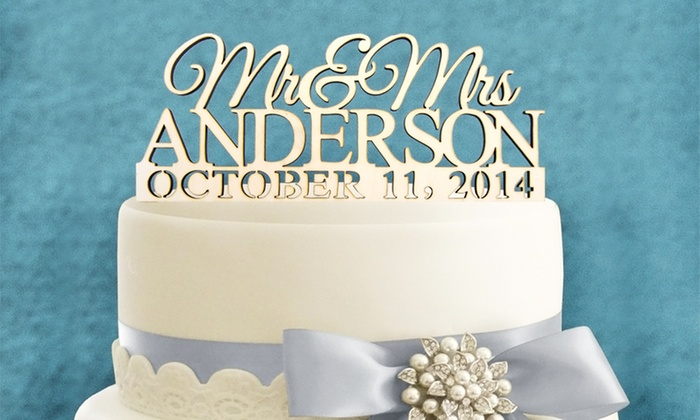 aMonogram Art: Natural or Painted Wood Mr. and Mrs. Cake Topper with Custom Name and Date from aMonogram Art (Half Off)