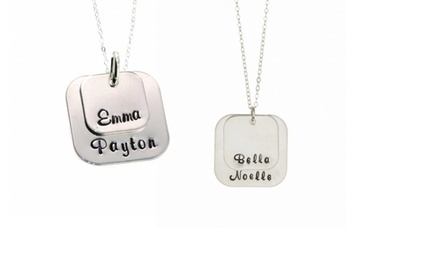 Personalized Double Square Pendants in Sterling Silver from Hannah Design