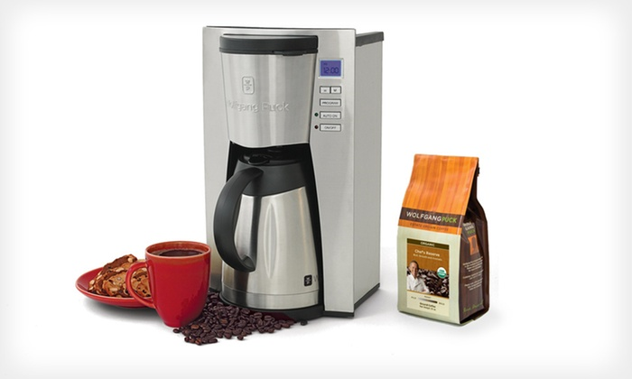 Wolfgang Puck Programmable Coffeemaker and Coffee: $54 for a Wolfgang Puck 12-Cup Programmable Coffeemaker and 12 Oz. of Coffee ($242.42 Total Value). Free Shipping.