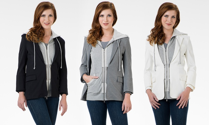 G.E.T. Women's 2-in-1 Hoodie Blazers: G.E.T. Women's 2-in-1 Hoodie Blazers. Multiple Colors Available. Free Returns.