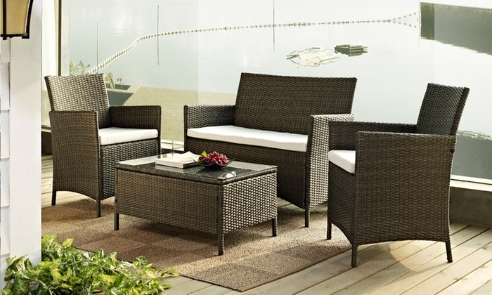 Groupon Goods Global GmbH  Rattan Effect Garden Furniture Set in Choice of  Colour for. Rattan Garden Furniture Set   Groupon Goods