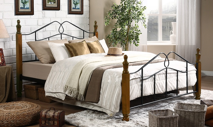 jaycee queen size antique bronze metal bed frame with sturdy walnut finish wood posts