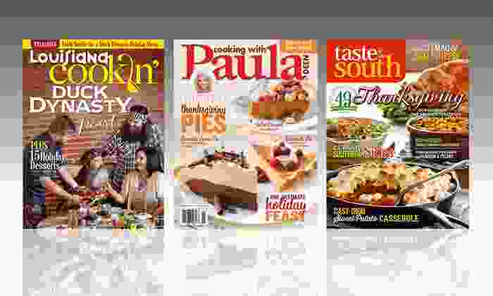 1-Year Cooking Magazine Subscriptions: 1-Year Subscription to Taste of the South, Cooking with Paula Deen, or Louisiana Cookin' from $10–$12.99. Free Shipping.