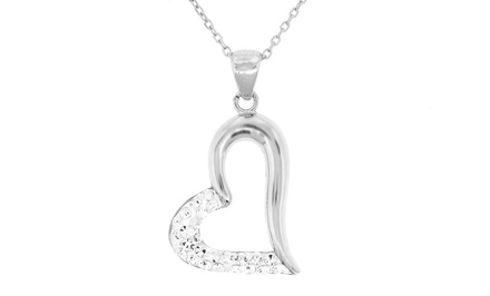 Sterling Silver Open Heart Pendant made with Swarovski Elements