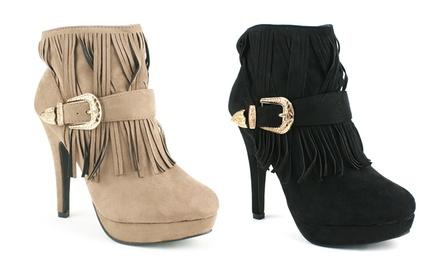 Women's Fringe Heeled Boots for £12.98