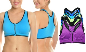 75f424d0db Angelina Wire-Free Front-Zip Racerback Seamless Sports Bra (6-Pack)