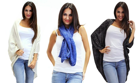 OhConcept 3-Way Lightweight Anda Shawl/Cardigan with Silver Threads
