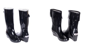 Women's Tall or Short Wedge Rain Boots: Women's Tall or Short Wedge Rain Boots