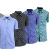 Men's Short-Sleeve Slim Fit Button-Down Patterned Dress Shirts
