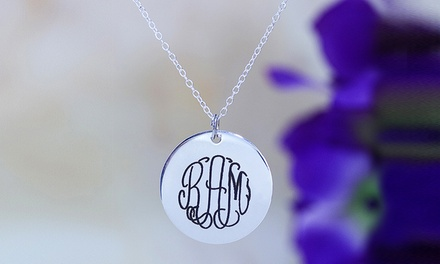$5 for a Monogrammed Engraved Disc Plated in Sterling Silver from MonogramHub ($69.99 Value)