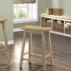 Set of Two Wood Saddle Seat Barstools