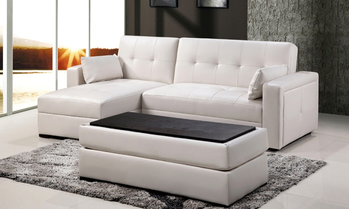 canap d 39 angle convertible avec pouf table basse groupon shopping. Black Bedroom Furniture Sets. Home Design Ideas
