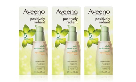 Aveeno Positively Radiant Daily Moisturizer; 3-Pack of 2.5oz. Bottles + 5% Back in Groupon Bucks