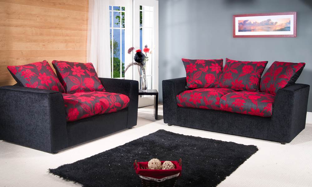 Chenille Fabric Sofa Set Groupon Goods. Black And Red ...
