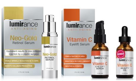 Lumirance Neo-Gold Retinol Serum and Vitamin C Eye Lift with Bonus Beauty Oil