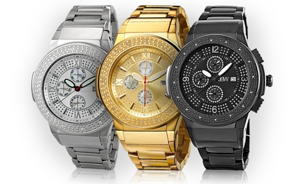 JBW Saxon Men's Leather or Stainless Steel Diamond Watch. Multiple Designs Available.
